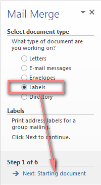 Select Labels and click the Next: Starting document link near the bottom of the pane.