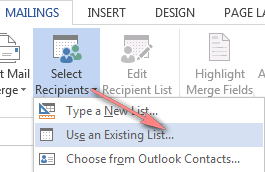 Connect to an Excel worksheet by clicking Select Recipients > Use an Existing List...