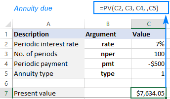 PV formula for annuity due