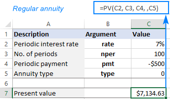 PV function to calculate present value of regular annuity