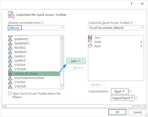 Adding a macro to the Quick Access Toolbar in Excel