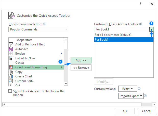 Customizing Quick Access Toolbar for the current workbook only