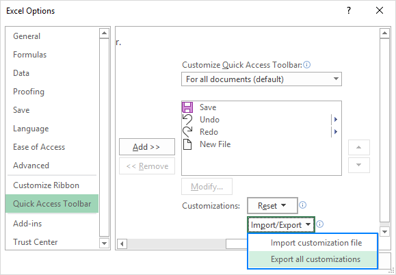 Export and import a customized Quick Access Toolbar.