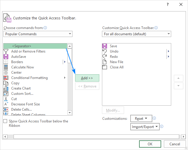 Grouping commands on the Quick Access Toolbar