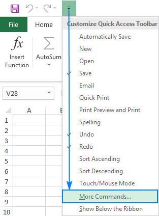 Click More Commands to open the Customize Quick Access Toolbar window.
