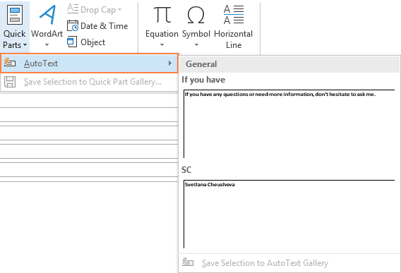View the existing AutoText entries.