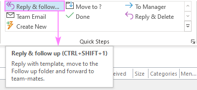 A custom Outlook Quick Step