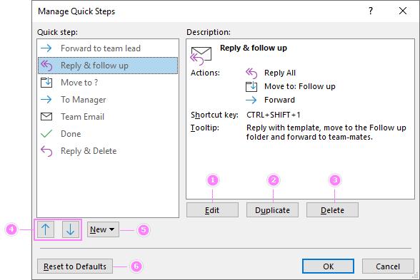 Manage, edit or delete Quick Steps.