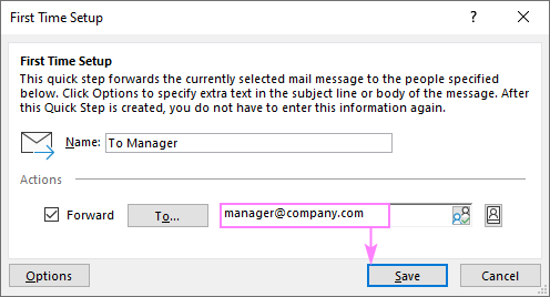 Configuring a default quick step in Outlook