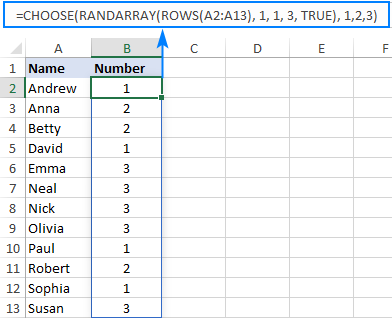 Assigning random numbers in Excel