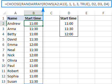 A formula to do random assignment in Excel