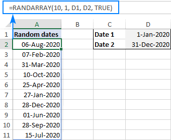 A formula to generate a random date between two dates
