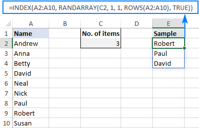 A formula to get a random selection in Excel