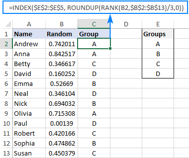 Randomly assigning data to groups in Excel