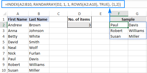 A formula to select random rows in Excel