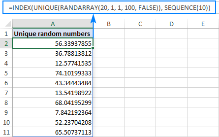 A formula to generate random decimals without duplicates