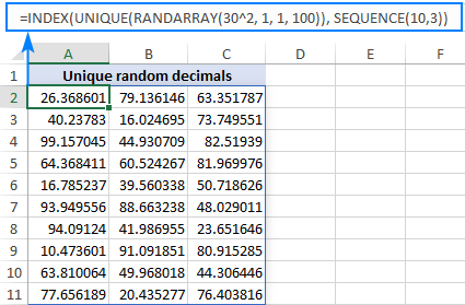 An Excel formula to create a range of non-repeating random decimal numbers