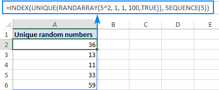 Excel formula to generate random integers with no repeats