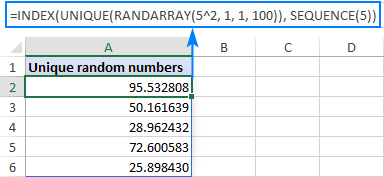 Excel formula to create a list of unique decimal numbers