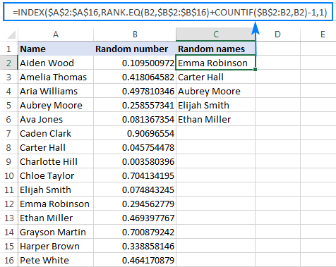 Formula to get a random sample in Excel without duplicates