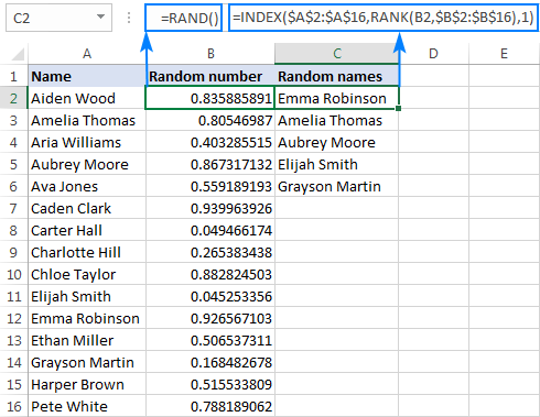 Random selection in Excel without duplicates