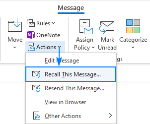Recalling a sent message in Outlook