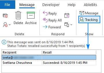 Track email recall in Outlook