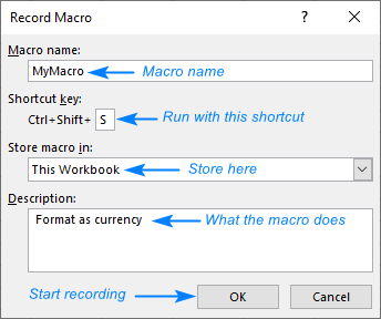 Configure the parameters of the macro.