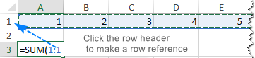 Making a row reference in Excel