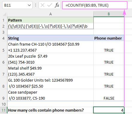 Excel COUNTIF regex