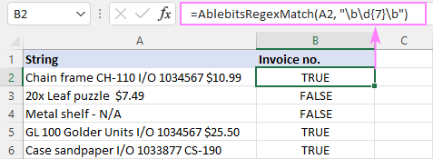 Regex Match function for Excel