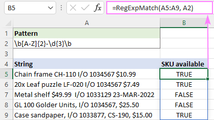 Regex to match multiple cells in Excel 365