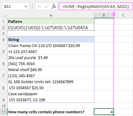 Count cells if regex is matched