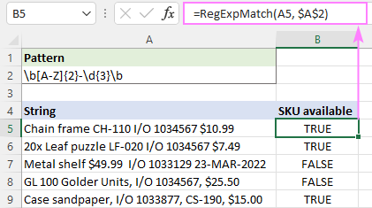 Regex to match string in one cell