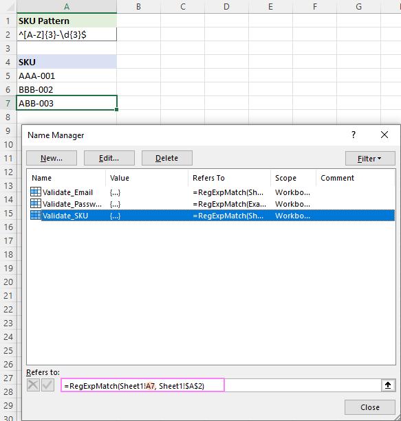 Checking a named Regex formula