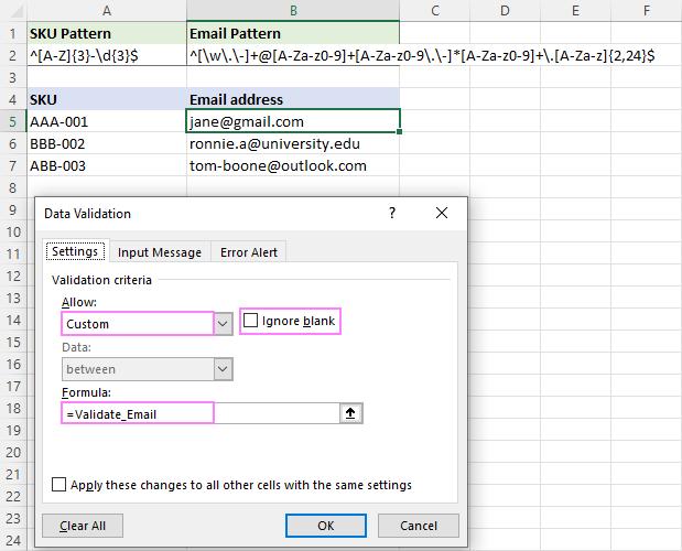 Setting up email data validation