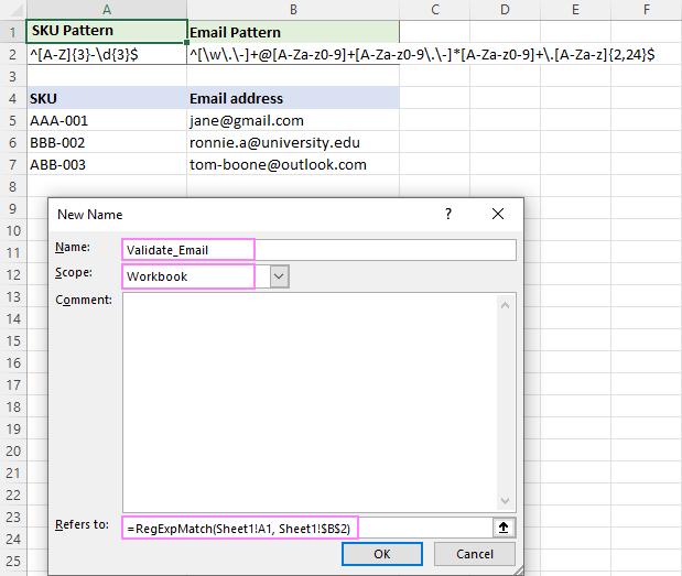 Regex formula for email data validation