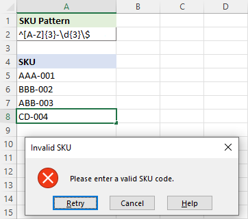 Data Validation in Excel using regular expressions