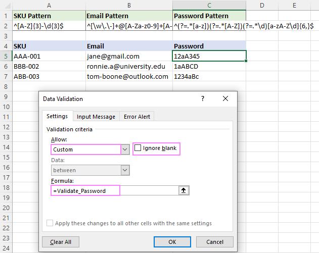 Setting up password data validation criteria