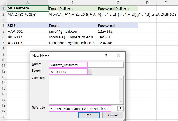 Regex formula to validate passwords