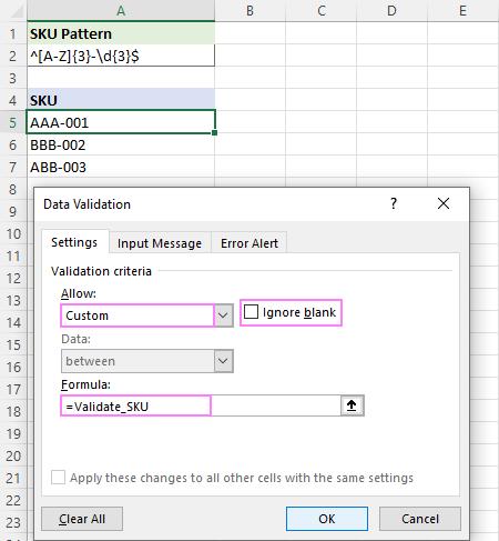Setting up Regex Data Validation