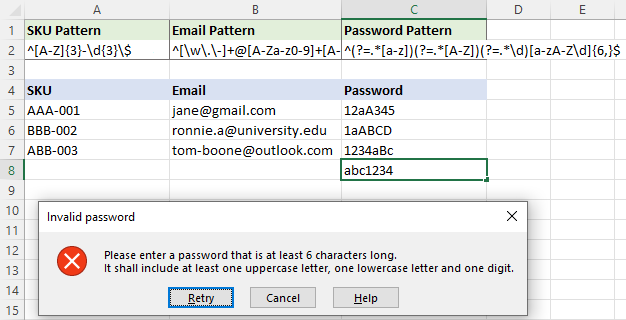 Using regular expressions for password validation