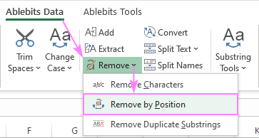 Remove characters by position