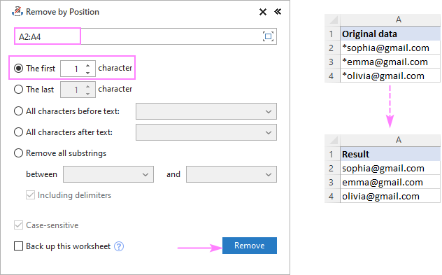 Remove the first character from selected cells