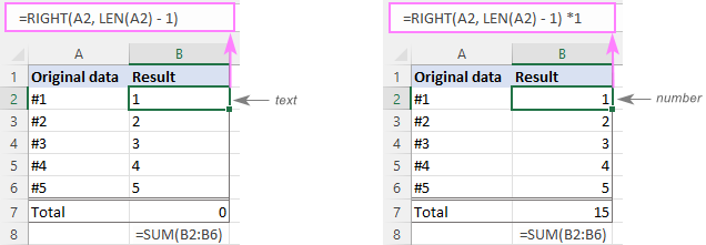 Remove characters and get the result as number