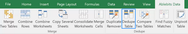 Dedupe Table add-in for Microsoft Excel