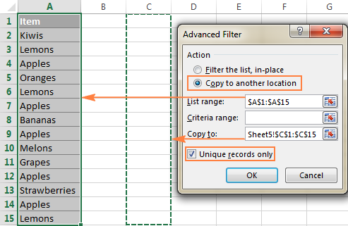 Copy unique values to another location.