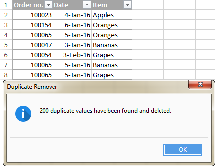 All duplicates rows except for 1st occurrences are deleted.