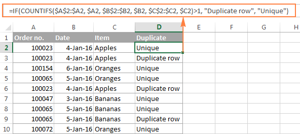A formula to identify duplicate rows except for 1st instances
