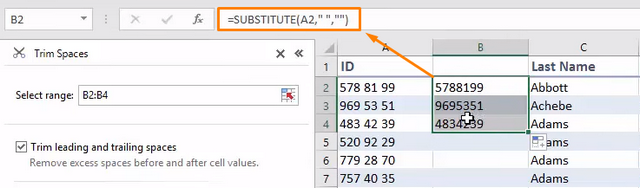 Remove spaces with SUBSTITUTE function